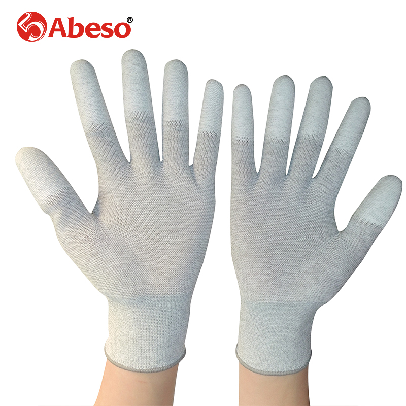 ABESO 2/10 pairs Carbon Conductive fibre & PU Finger electronic Anti-static Gloves With PU AntiStatic Work Glove A3002 carbon fiber antistatic brush remove static electricity 1460x1400mm