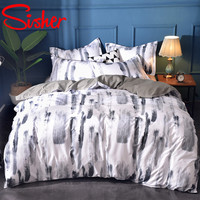 Sisher Home Decoration Nordic Style Simple Bedding Set 3D Duvet Cover With Pillowcase Bed Line Single Double Queen King