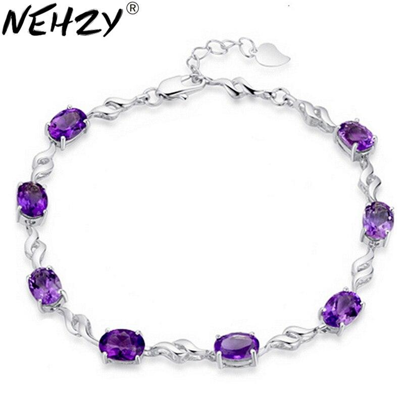 NEHZY Silver four feet eight female models Purple crystal bracelet lovely fashion brand retro jewelry 17.5CM