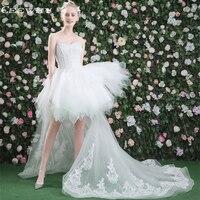 Ceewhy короткое спереди сзади Длинные Милая Robe De mariree Кружево Up платье невесты Vestido De Noiva бальное платье белое свадебное платье
