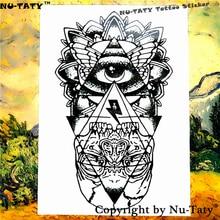 Nu-TATY The Evil Eye Temporary Tattoo Body Art Flash Tattoo Stickers 21x15cm Waterproof Henna Tattoo Home Decor Wall Sticker