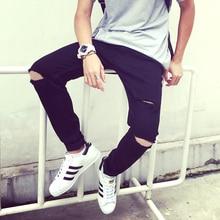 Рваные джинсы для мужчин уничтожены джинсы мужчина тощий проблемные уменьшают подходящую дизайнер байкер хип-хоп hi-end уличный стиль черный жан Z20