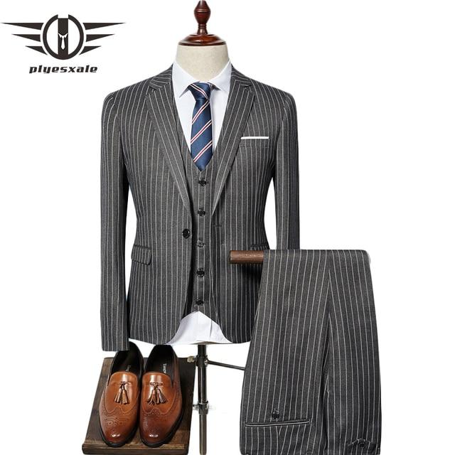 Plyesxale hombre traje de rayas Slim Fit 3 unidades para hombres elegante  novio traje de boda 0e024d66de3