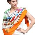 Лин / 2015 новая цепь шаблон шелковые платки женщины, Большой 90 см площади атласная оранжевый Mujer bufandas, Дамы бандана, Écharpe # DF9020