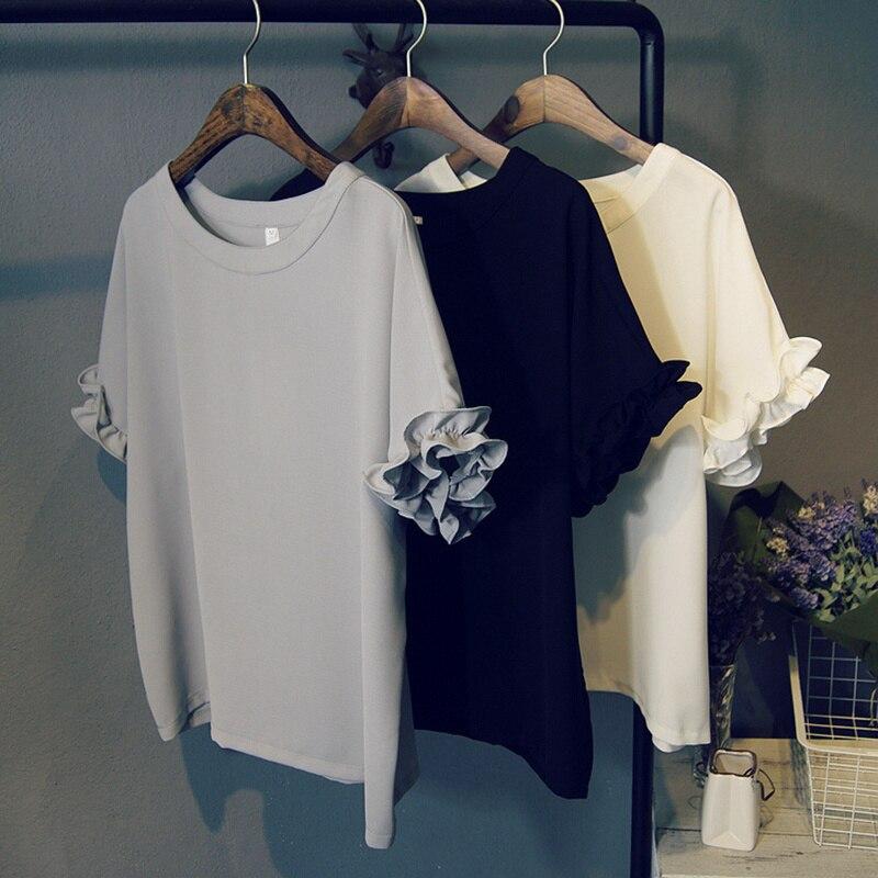 Free Shipping The New Summer 2016 Korean Women s Clothing Round Collar Chiffon Petal Sleeve font