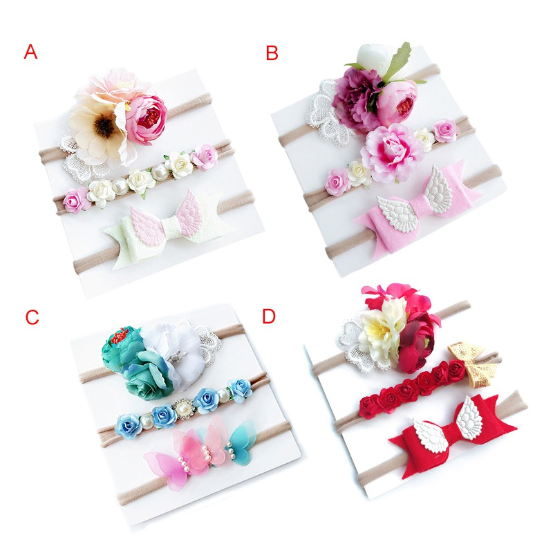 где купить Girls Hair Accessories 3Pcs Kids Elastic Floral Headband Hair Girls Baby Bowknot Elastic bands Headwear Hairband Set по лучшей цене