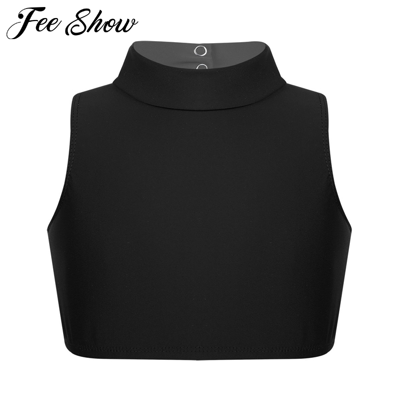 Girls Camisole Kids Sleeveless Mock Neck Criss Cross Back Tanks Bra Tops Crop Top For Ballet Dance Stage Performance Workout