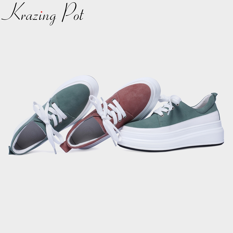 2019 big size cow leather round toe lace up solid sneaker high heels thick bottom platform