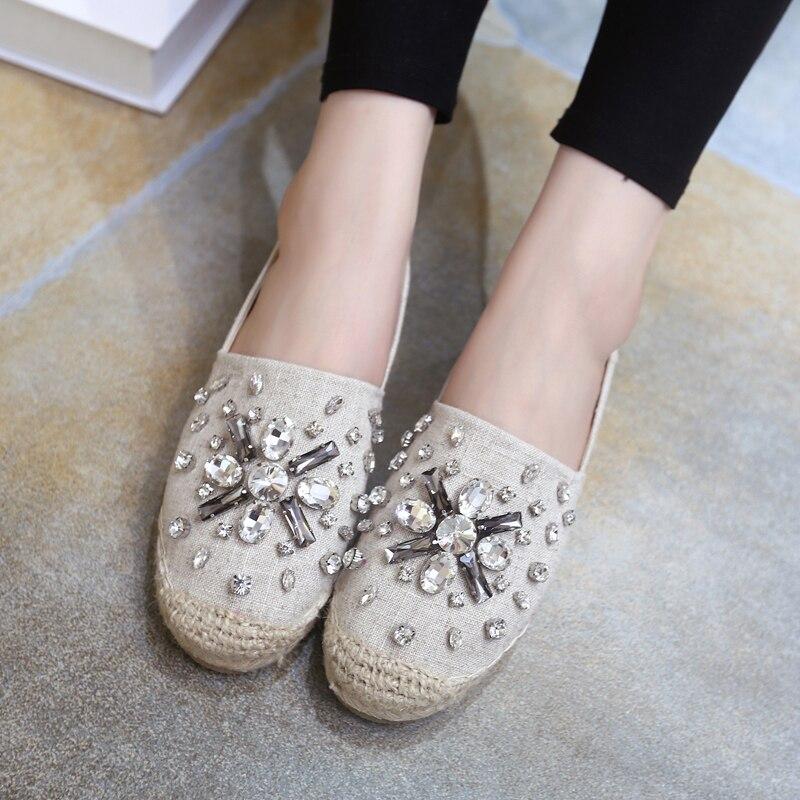 2017 Ladies Slipony Women Canvas Denim Espadrilles Flat Shoes Brand Designer Rhinestone Crystal Ballet Flats Loafers Horsebit