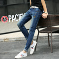 Size 27-36 new spring color patch hole elastic jeans men Korean tide men's slim pants ripped jeans for men Cat whisker