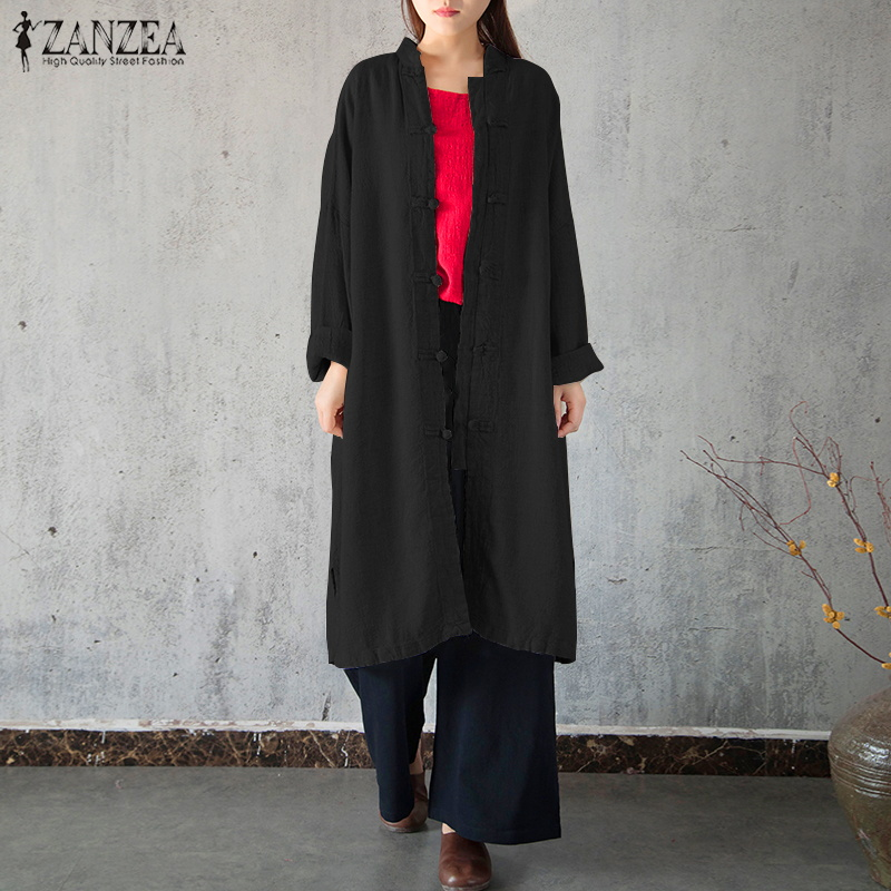 2018 ZANZEA Autumn Women Stand Collar Vintage Long Cardigan Long Sleeve Buttons Solid Jacket Casual Cotton Linen Shirt Outwear