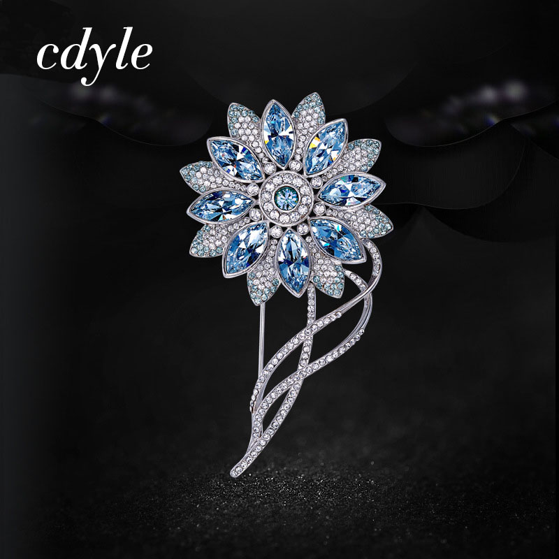 Cdyle Elegant Women Brooches Austrian Rhinestone Fashion Jewelry Blue And Gold Flower Brooch Beautiful Female Mother's Day Gift цена 2017
