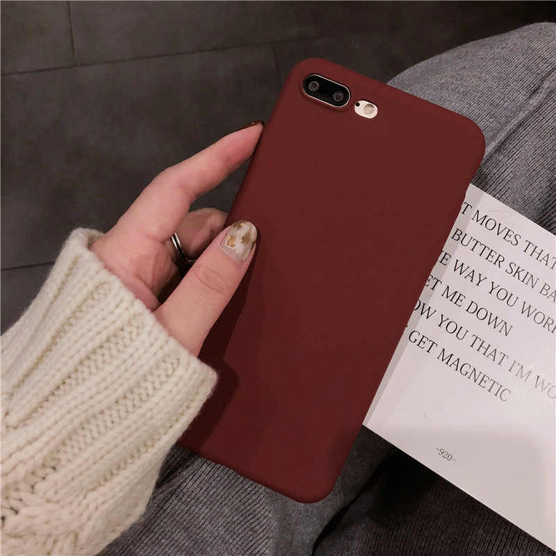 Smooth Wine red Cases for iphone XR XS max 7 6s 8 X 10 case Pure Full sleeve Cover Fundas for iphone 6s 6 7 8 plus Case A+silica