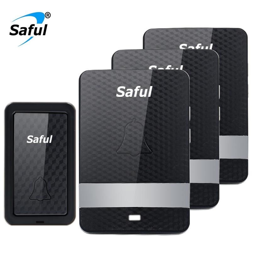 Saful Wireless Self powered Doorbell no battery Waterproof doorbell 28 melodies remote control door bell system EU/UK/US/AU plug bourjois khol