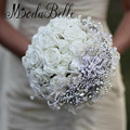 Custom White Rose Brooch Wedding Bouquet With Diamonds Elegant Bride Flower Luxurious Bridal Crystal Bouquet Pearls