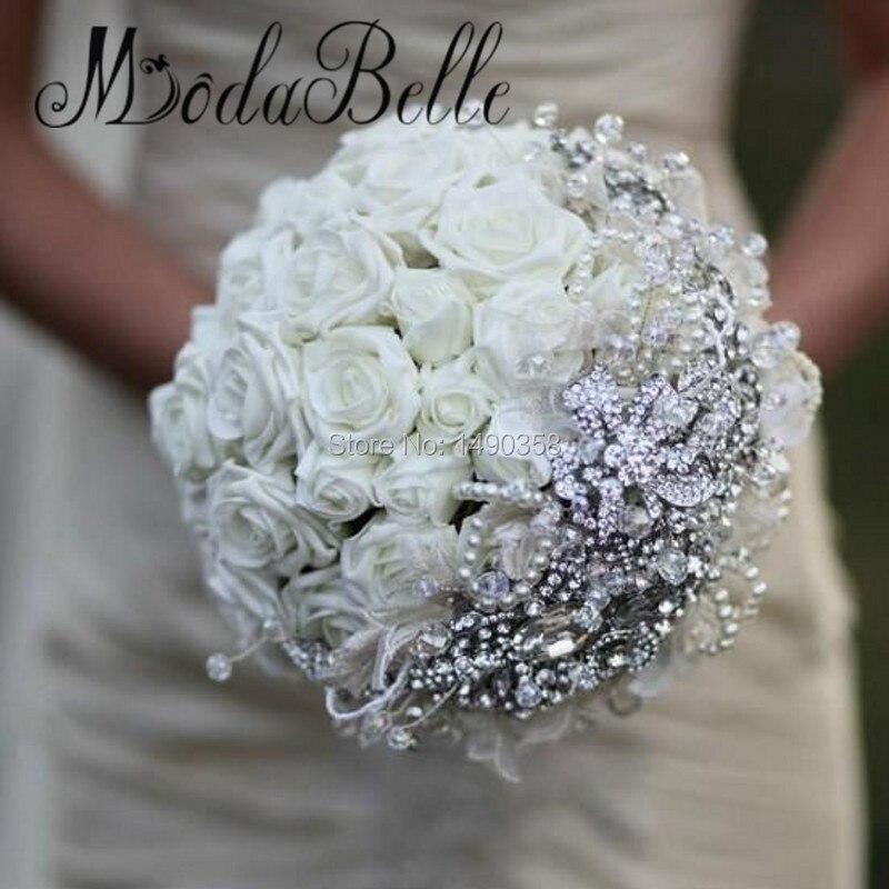 Bouquet Sposa Elegante.Personalizzata White Rose Spilla Bouquet Da Sposa Con Diamanti
