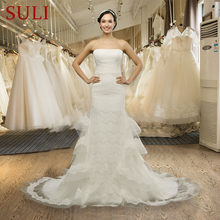 Q-022 Attractive Strapless Sleeveless Mermaid Tiered Lace Wedding Dresses d0fdfd4082e6
