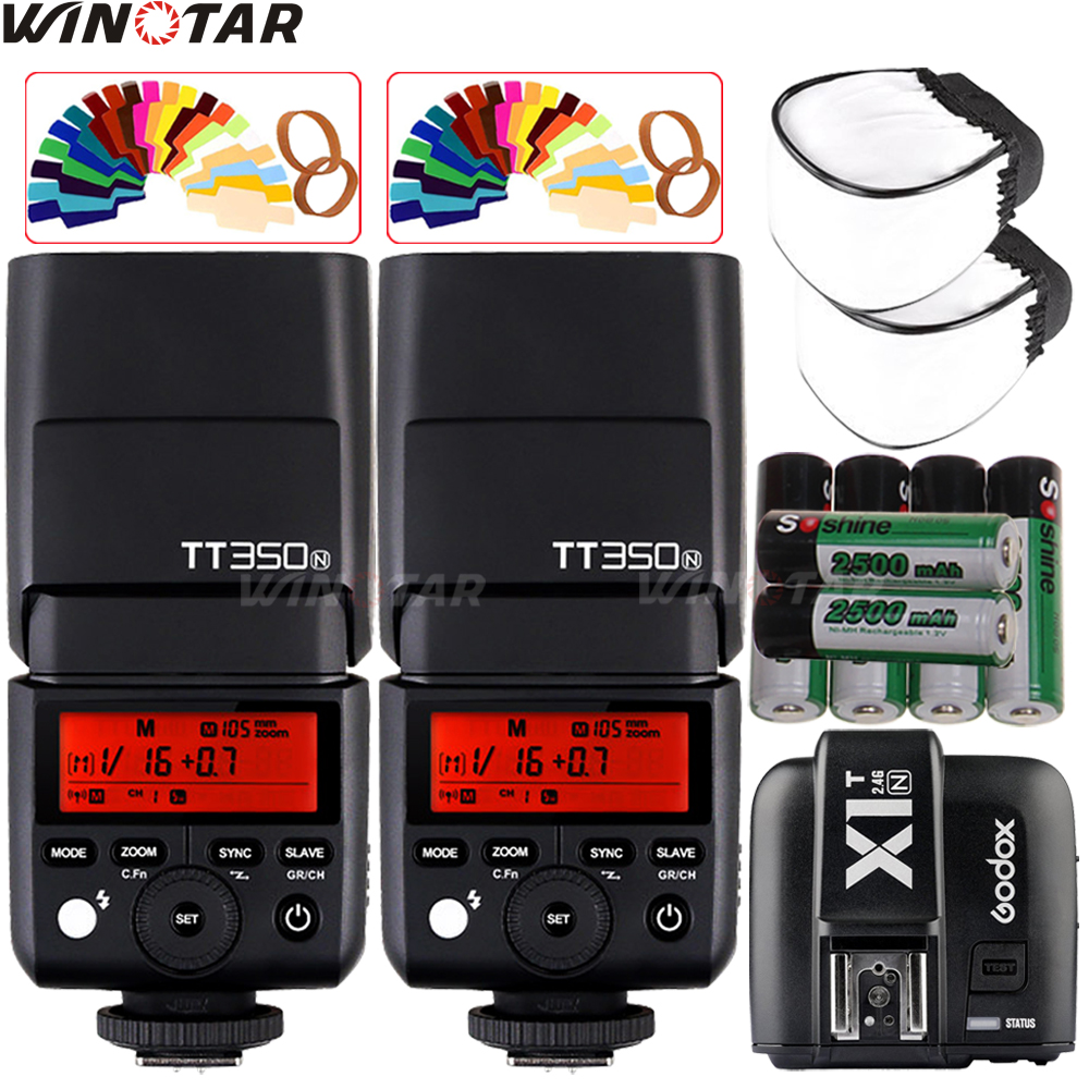 2X Godox Mini Speedlite TT350N Camera Flash TTL HSS + X1T-N Trigger + 6x 2500mAh Rechargeable Battery for Nikon DSLR Cameras meike mk d750 battery grip pack for nikon d750 dslr camera replacement mb d16 as en el15 battery