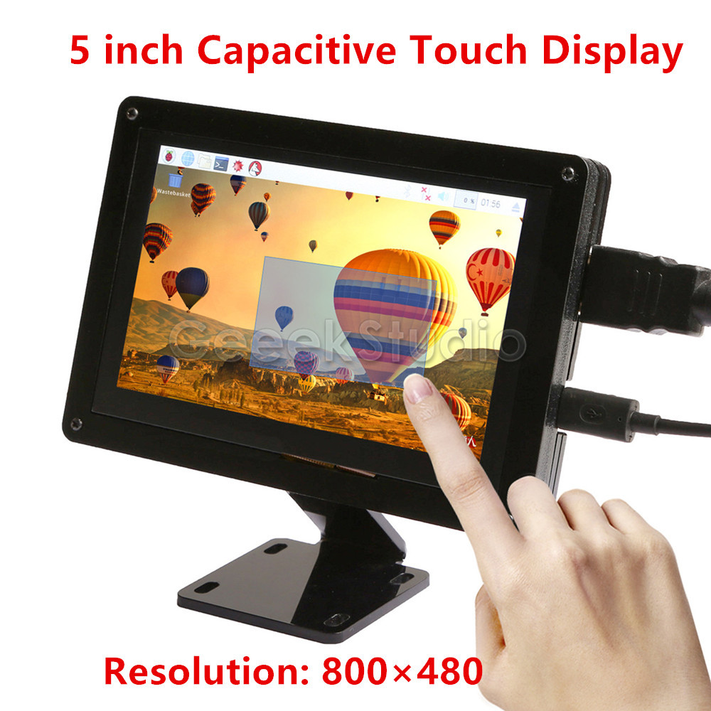 Free Driver Plug and Play! 5 inch 800*480 Capacitive Touch Display Screen Monitor for Raspberry Pi, Windows PC, BeagleBone Black 52pi 7 inch 1024 600 free driver tft display capacitive touch screen monitor for raspberry pi win beaglebone black plug and play