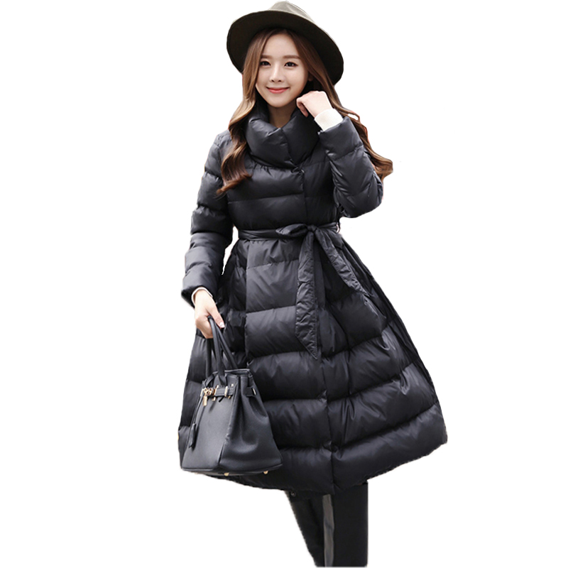 Winter Jacket Women Parka 2017  Down Cotton Padded Coat High-necked slim Thick Warm Long Overcoat Female Parka QW741 winter jacket women parka plus size 2017 down cotton padded coat slim fur collar hooded thick warm long overcoat female qw699