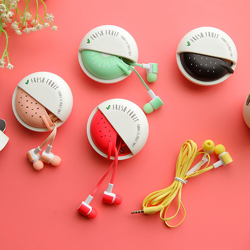 Cartoon Fruit Watermelon Earphones Cute Girl Earbuds With Micro Storage Box For Mobile Phone Kids Child