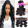 13x4 Lace Frontal Closure With Bundles 7A Brazilian Virgin Hair Body Wave With Closure 3 Bundles With Frontal Closure Human Hair