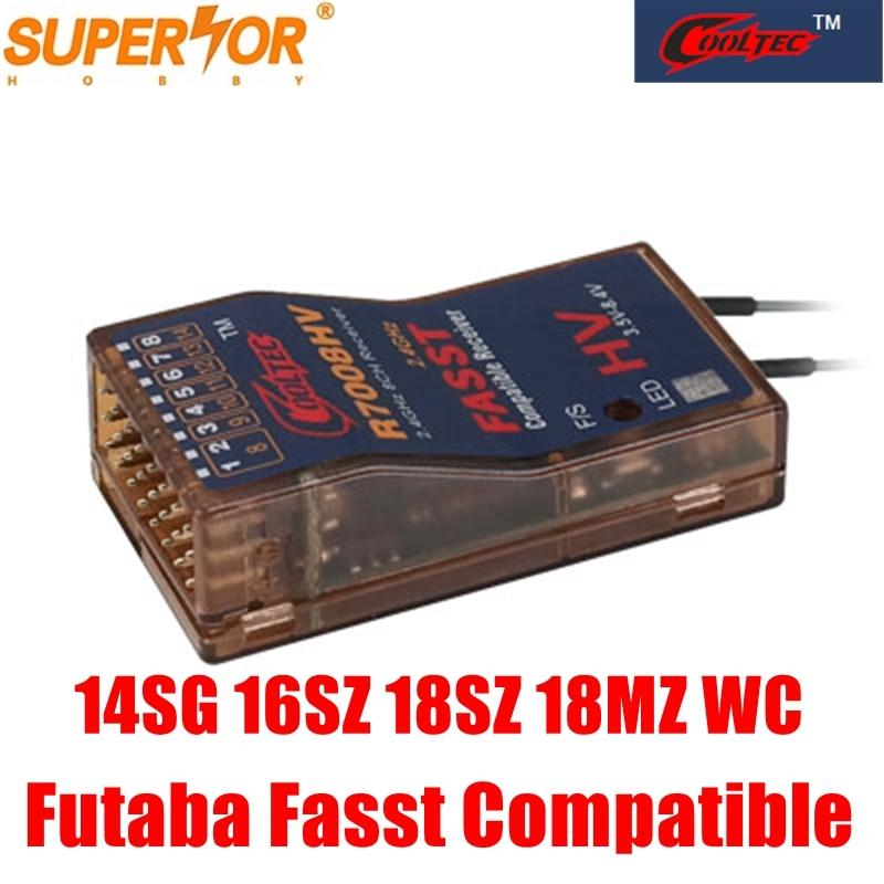 Cooltech R6008HV R7008HV 8-13ch fasst récepteur compatible Futaba 14SG 16SG 16SZ 18SZ 18MZ WC systèmes d'air multi-mode corona R8fa