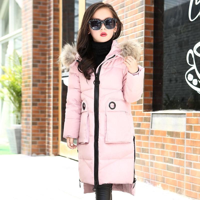 Winter Children Girls Outerwear Coats Duck Down Jacket Raccoon Fur Kids Girls Clothes Russian Real Fur Children's Snowsuit TZ229 цена и фото