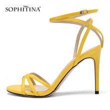 SOPHITINA New Fashion Buckle Strap Women Sandals Casual Solid Super High Heel Shoes Summer Sexy Thin Heel Ladies Sandals PO172 black red green pink thin belt ankle strap high heel sandals for women ladies solid open toe super high metal thin heel sandals