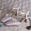 Wedopus Custom Handmade Toe Open Woman Shoes Bride Wedding with Wedge