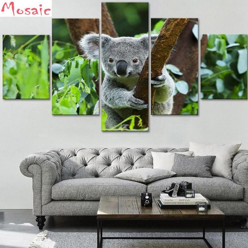 5D DIY Diamond Mosaic 5 Pieces Animal Koala picture square Rhinestones diamond Painting needlework cross stitch