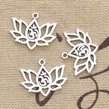 8pcs Charms lotus flower yoga om 21x17mm Antique Making pendant fit,Vintage Tibetan Silver,DIY Handmade Jewelry(China)
