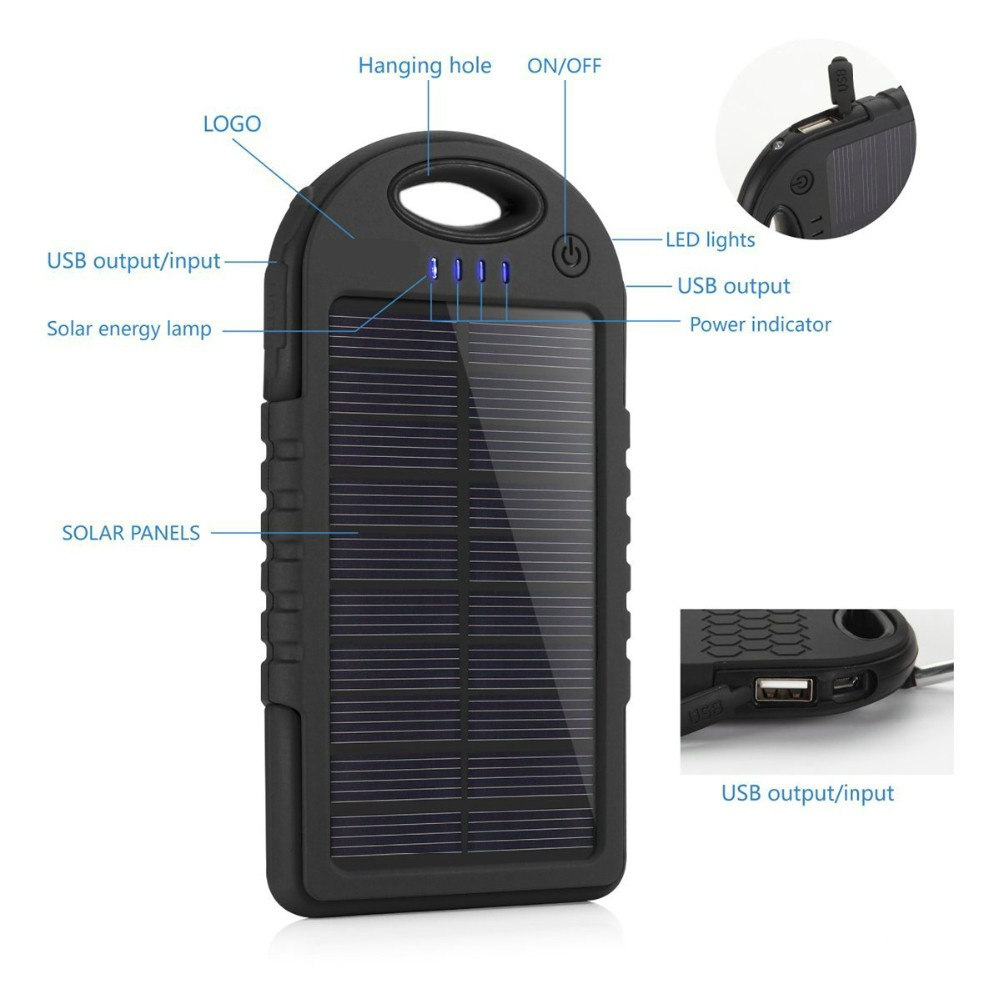 Water-proof Solar Charger Mobile Power Bank (5000mAh) in pakistan 38411b3bac