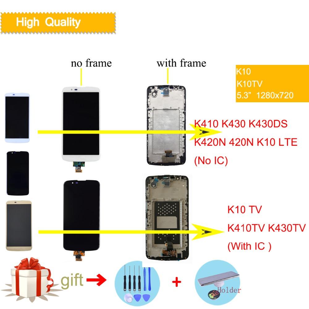 Exibição Para LG K10 LCD Tela Sensível Ao Toque com Frame Para O LG K10 TV LCD Original Exibição K410 K430 K430DS K420N 420N K10 LTE LCD IC