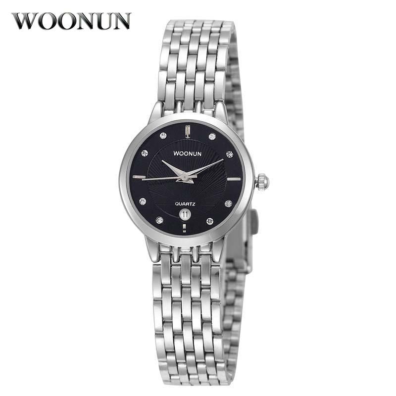 relogio feminino 2017 WOONUN Ladeis Watches White Rhinestone Quartz Wrist Watches For Women Geneva Watch Women Full Steel
