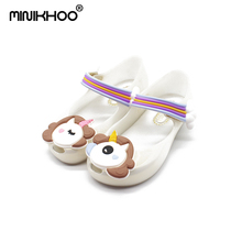 Mini Melissa 2018 Unicorn Sepatu Musim Dingin Baru Jelly Sepatu Dargon Sandal Ikan Mulut Gadis non-slip Anak-anak Sandal Balita Melissa sepatu