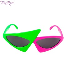 FENGRISE Novelty Green Pink Contrast Funny Glasses Roy Purdy Hip-Hop Asymmetric Triangular Sunglasses Party Decorations