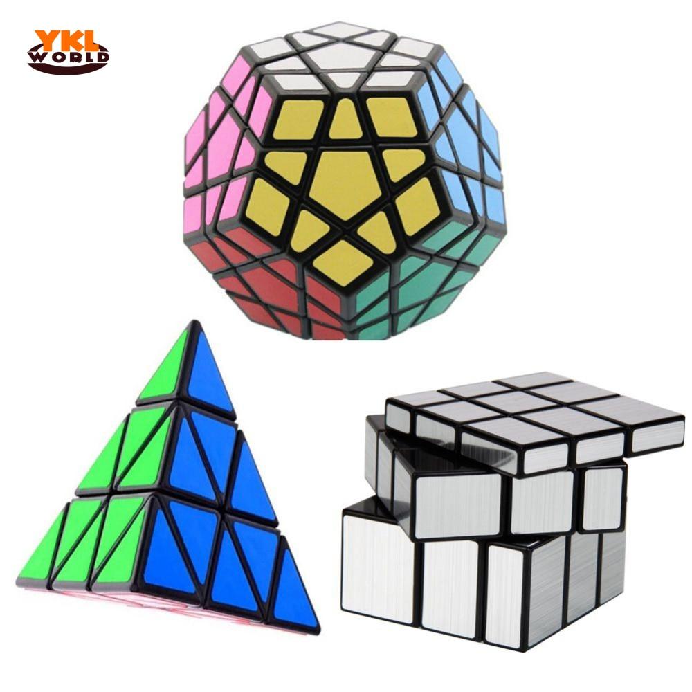 YKLWorld 3 pièces/ensemble Cube magique Dodecahedron & Triangle Puzzle magique & 3x3x3 Cubes magiques profilés en gros (S5