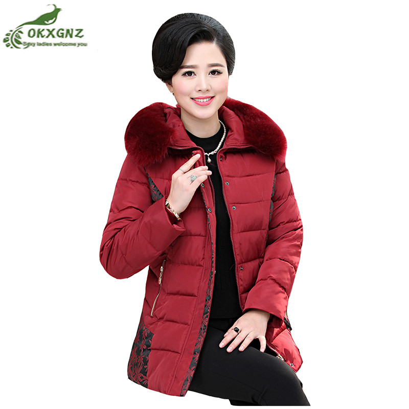 Winter new women jacket coat elderly Down cotton short Outerwear women large size thickening warm coat clothing OKXGNZ AF207 2017 winter women plus size in the elderly mother loaded cotton coat jacket casual thickening warm cotton jacket coat women 328