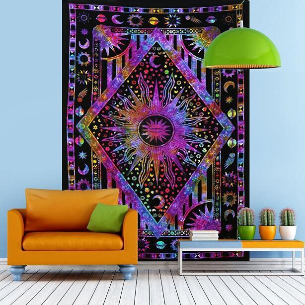 Sun God Tapestry Boho Hanging Wall Hippie Tapestries Throw Art Wall Decor Background Cloth Table Cloth Beach towel panic mat