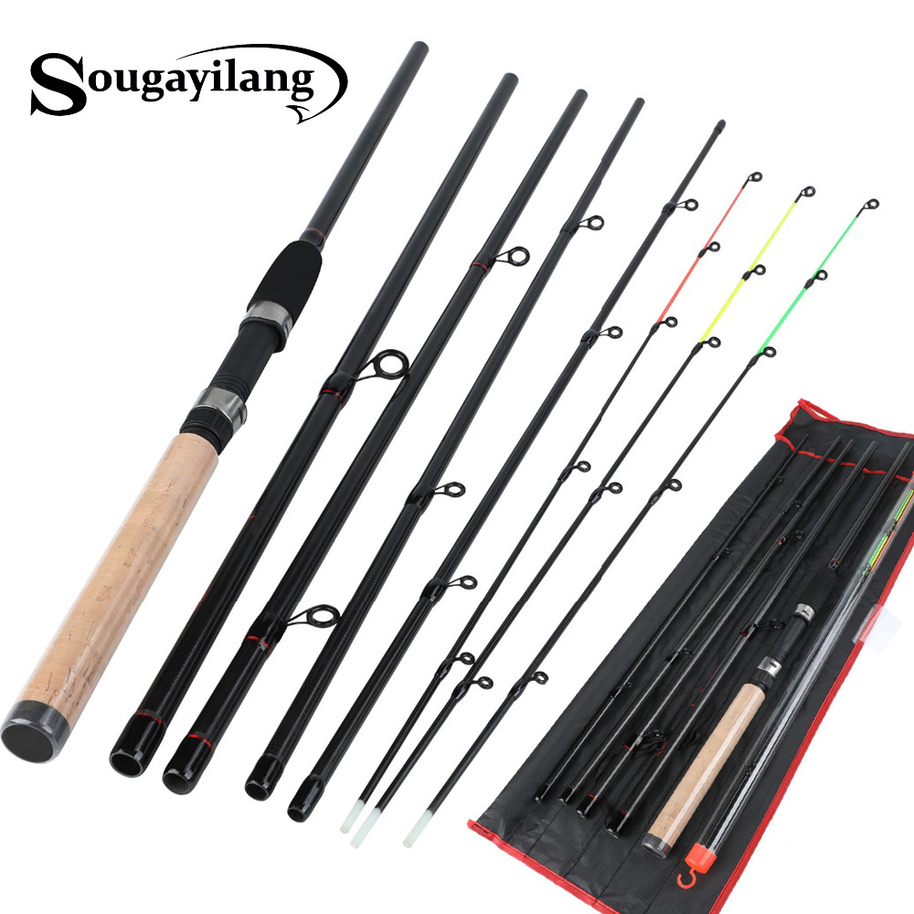 Sougayilang Feeder Fishing Rod Ultralight Weight 6 Section Carbon Carp Fishing Tackle