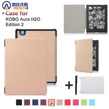 "Caso para 2017 Kobo aura H2o edición 2 6.8 ""kobo ereader pu caso de la cubierta a prueba de agua + free regalo"