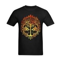 Men S Short Sleeve T Shirt Cotton Men Bright Flaming Destiny Iron Banner Design Customized Retro