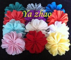 Image 4 - 3,2 дюймовые шифоновые цветы, DIY цветные цветы для головной повязки и аксессуары для волос, 60 шт./лот, бесплатная доставка