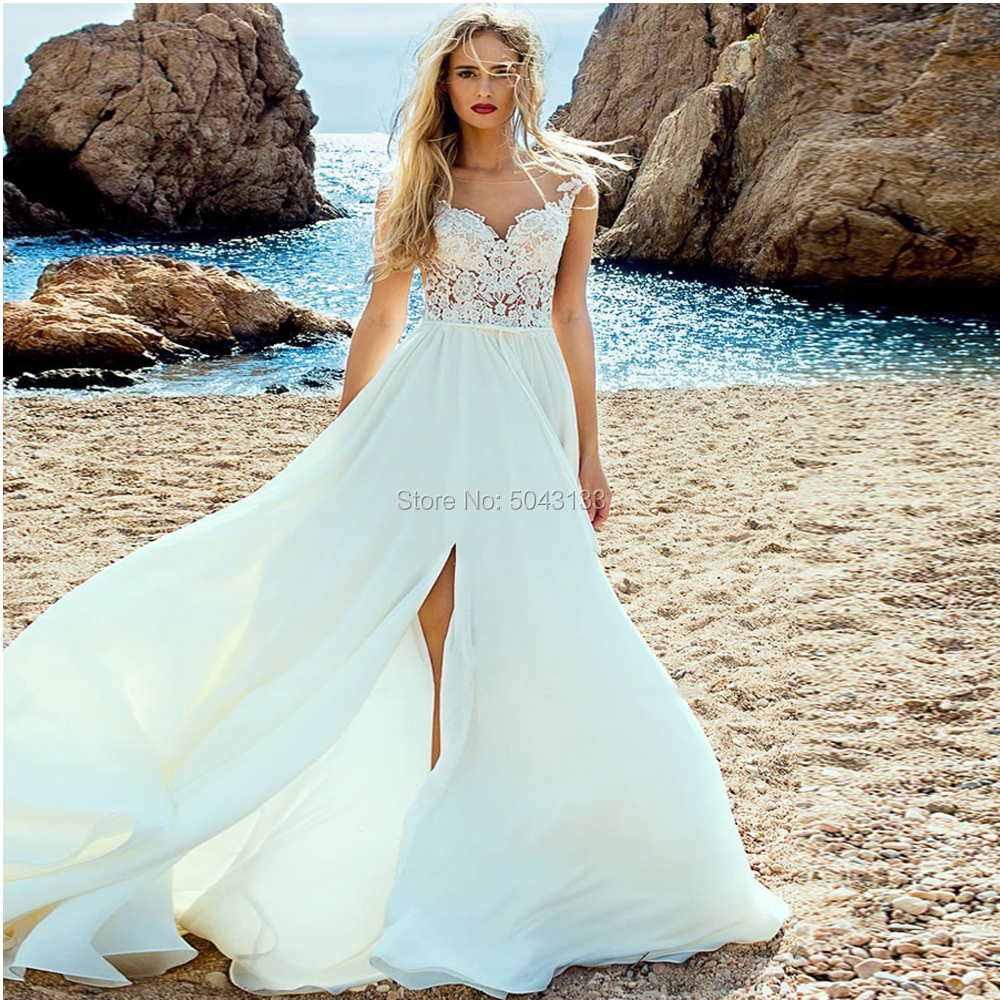 Boho Wedding Dresses with Lace Appliques 2019 Illusion Sweetheart Cap Sleeves Sexy Side Slit Bride Wedding Gowns Free Shipping