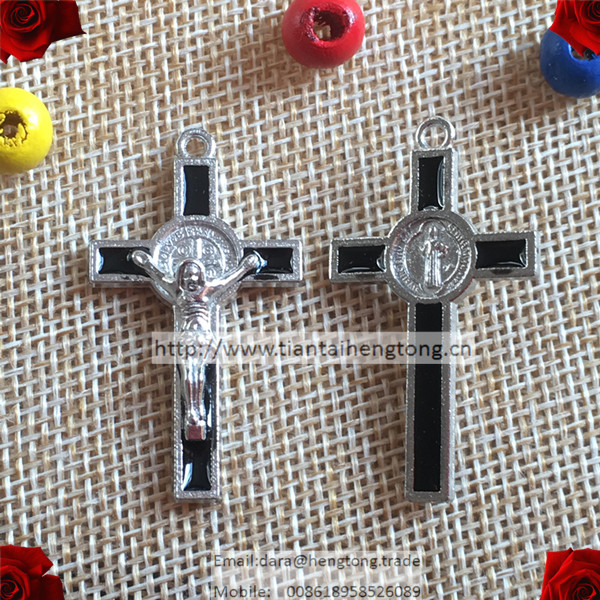 thick 40pcs/pack one hole alloy rosary cross,rosary crucifix,religious alloy cross,St. Benedict Crucifix special offer