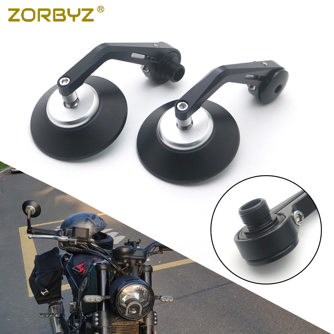 ZORBYZ 1 Pair CNC Aluminium Round Handlebar End Side Thread Inside Mount Mirrors For Benelli Leoncino