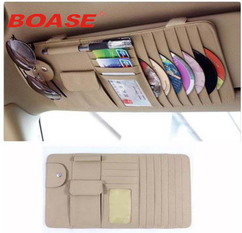 beige or black new car interior sun visor multifunction leather dvd case cd folder pocket in. Black Bedroom Furniture Sets. Home Design Ideas