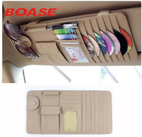 Beige Or Black New Car Interior Sun Visor Multifunction Leather DVD Case CD Folder Pocket