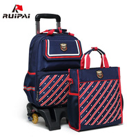 RUIPAI Children Mochilas Kids School Bags With Wheel Trolley Luggage For Boys And Girls School Backpack
